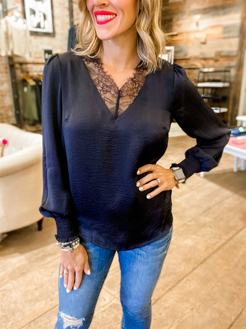 Date Night Ready Lace Inset Navy Blouse