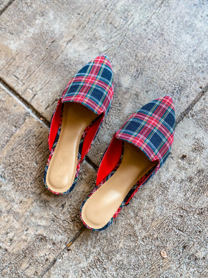 Feeling Festive Plaid Mule