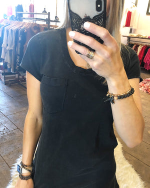 BOBI Pocket Tee Dress in Vintage Black