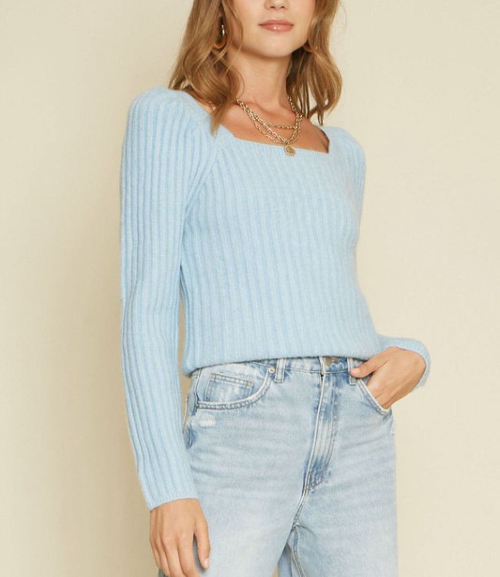 Ready For Blue Ribbed Sweater