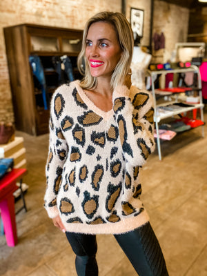 It's Just Peachy Leopard Sweater