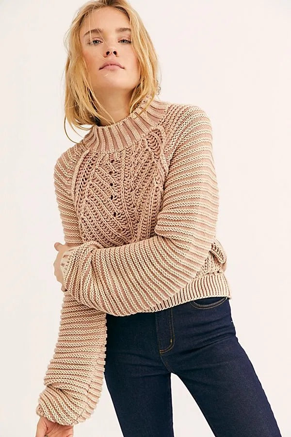 Free People Sweetheart Sweater in Sand