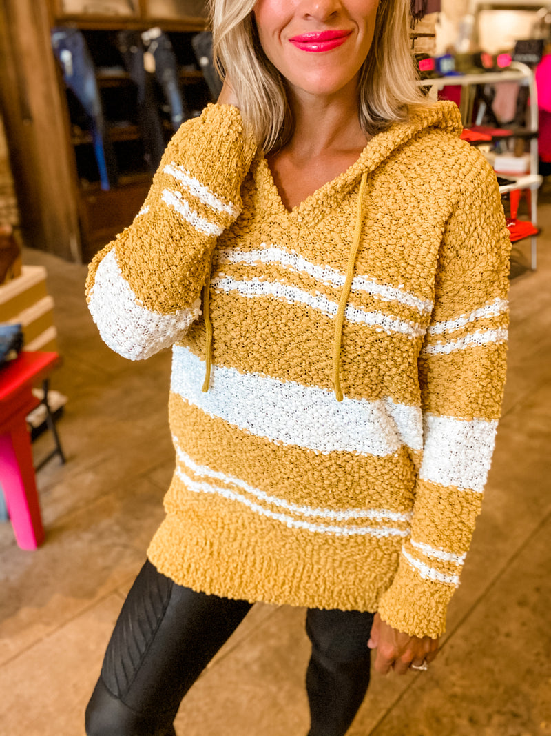 Grab The Popcorn Tunic Hoodie in Mustard
