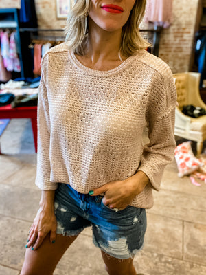 Making Me Blush Lightweight Knitted Top