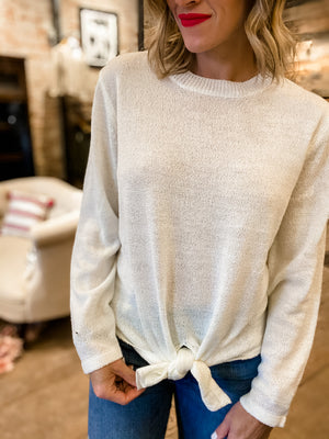 Love You Always Tie Front Knit Top in Ivory