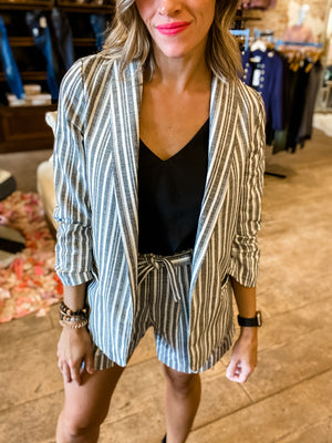 Girl Boss Charcoal Striped Blazer
