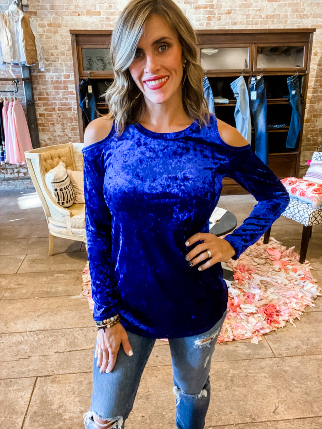 Blue Christmas Crushed Velvet Cold Shoulder Tunic