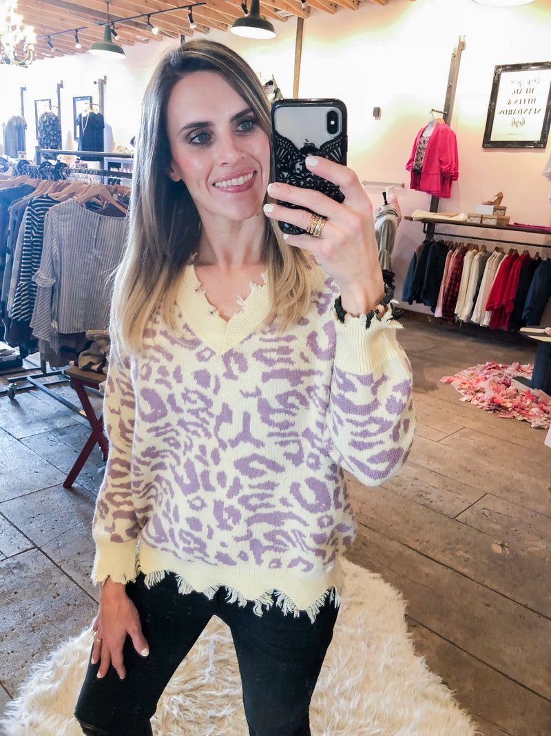 Love, Lavender & Leopard Distressed Sweater