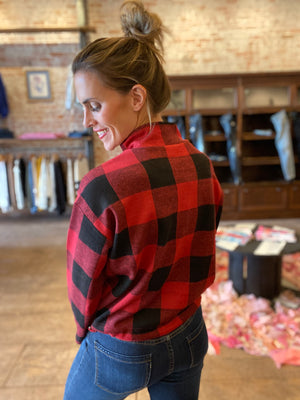 BB Dakota Gimme Your Best Shot Buffalo Plaid Top