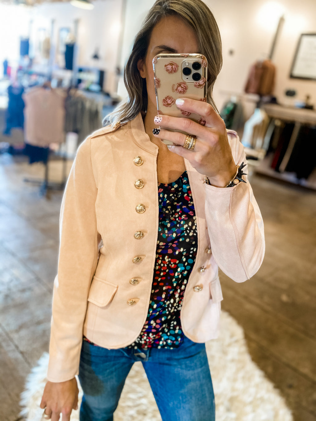 Oh So Suede Blush Military Blazer