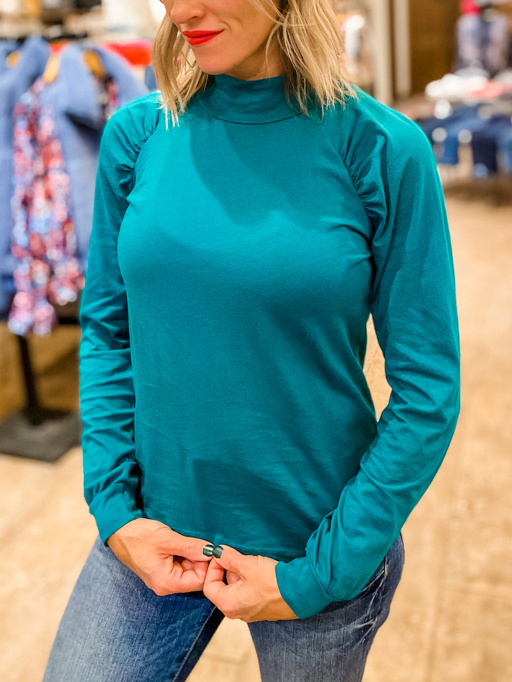 BOBI Raglan Mock Neck Top