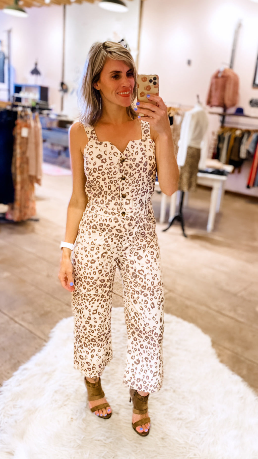 Here Kitty Kitty Cropped Leopard Jumpsuit