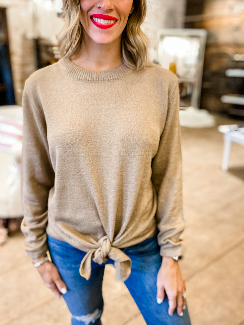 Love You Always Tie Front Knit Top in Mocha