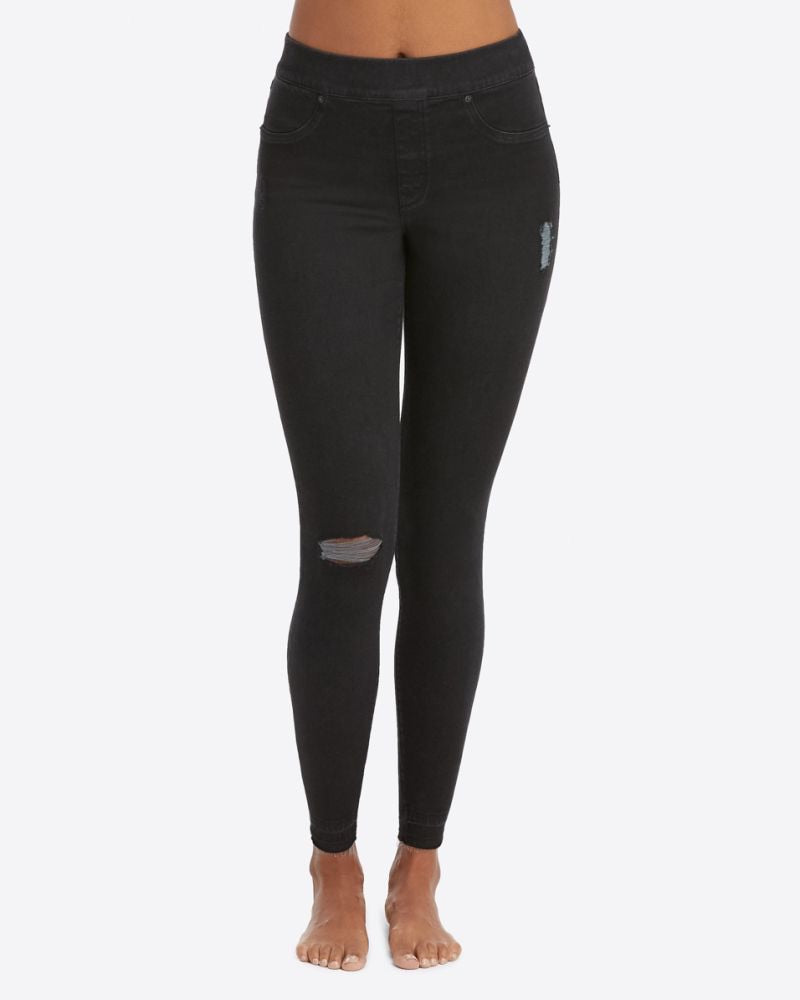 Spanx Black Distressed Denim Legging