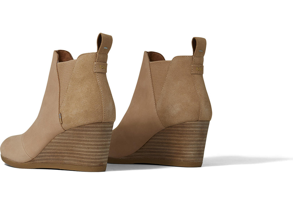 TOMS Leather & Suede Kelsey Wedge in Honey