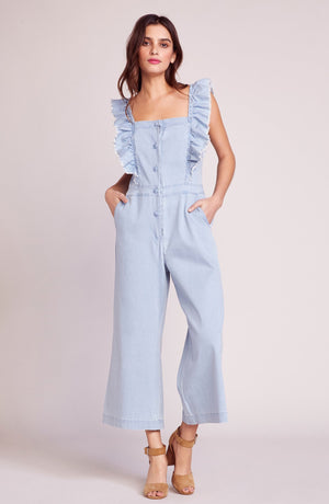 JACK by BB Dakota Yes Way Chambray Ruffle Jumpsuit