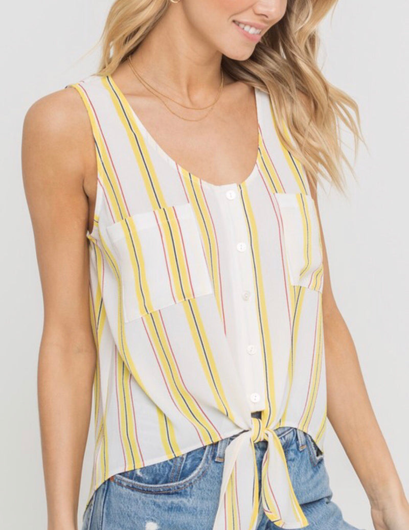 Lemons into Lemonade Tie Front Tank