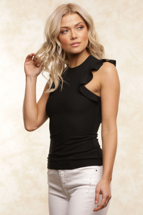 SADIE RUFFLE TOP-BLACK
