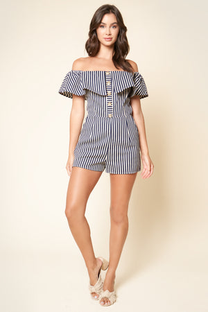 Hey Sailor Off The Shoulder Navy Striped Romper