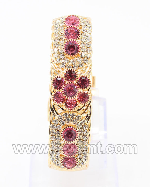 Crystal Stones and Pink Flower Design
