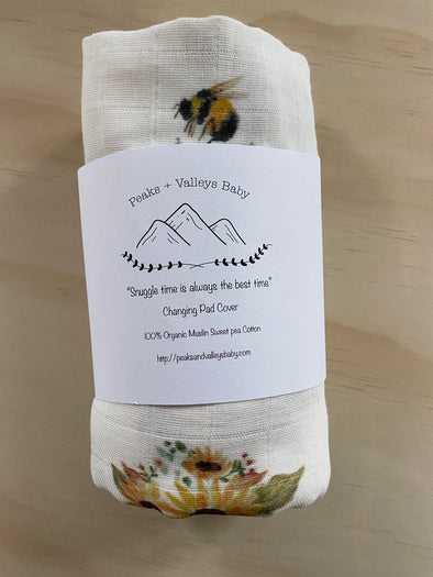 Bee Garden changing pad cover- PVB Exclusive