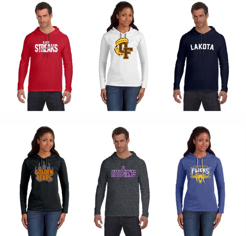 Local School Fanwear- Lightweight Long Sleeve Hooded T-Shirt