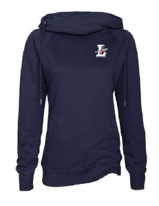 Ladies navy Funnel Neck Pullover with Lakota Design on Left Chest