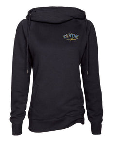 Ladies black Funnel Neck Pullover with Clyde Design on Left Chest