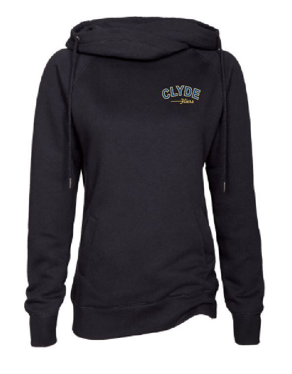 Ladies black Funnel Neck Pullover with (CAS-03) Clyde Design on Left Chest