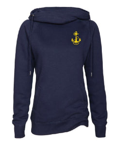 Ladies Navy Funnel Neck Pullover with New Riegel Design on Left Chest in gold