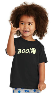 """Boo"" with Ghost Toddler & Youth T-Shirt"