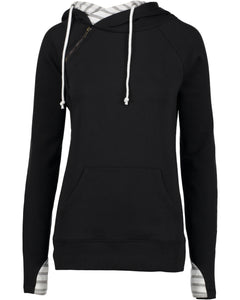Ladies Stripe Double Hood Pullover