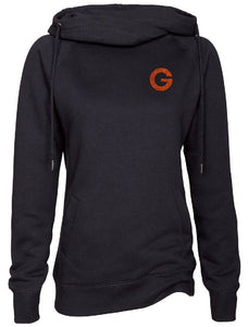 Ladies Black Fleece funnel neck hood with glitter orange G on left chest