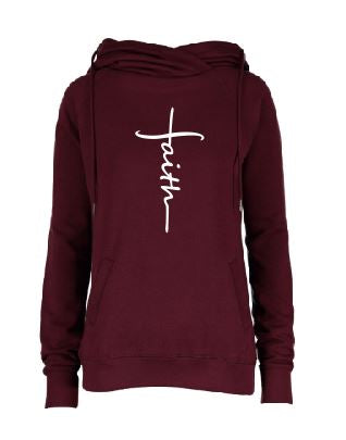Ladies Burgundy Funnel Neck Pullover with Faith design