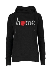 Ladies Classic Fleece Funnel Neck Pullover Hood with Home Design in Black Heather