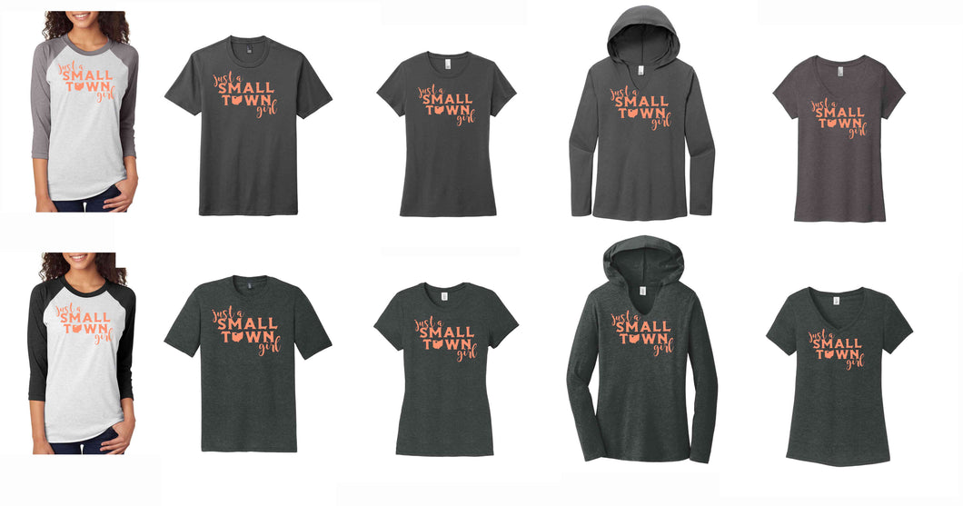 Small Town Girl Triblend Short Sleeve T-Shirt, 3/4 Raglan Sleeve and Long Sleeve Hoodie