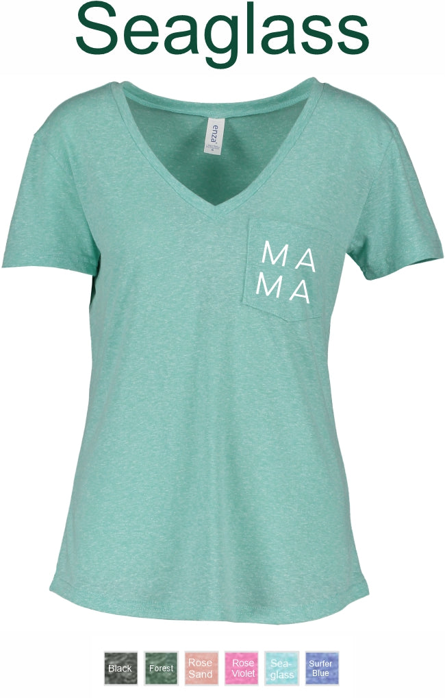Enza EZ010- Ladies Melange Pocket Tee with MAMA on pocket