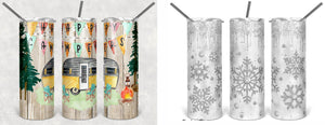 20 Skinny Straight Tumbler- Happy Camper or Winter Sparkle