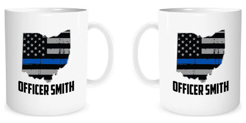 State of Ohio American Flag Thin Line Coffee Mug