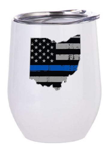 State of Ohio American Flag Thin Line Stemless Wine Tumbler