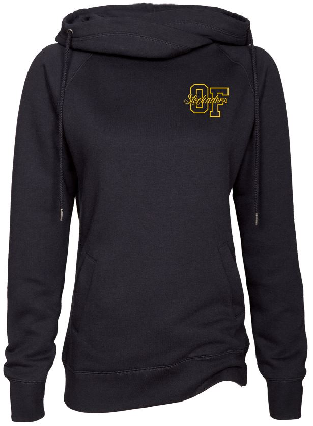 Ladies Black Funnel Neck Pullover with Old Fort Design on Left Chest in Glitter Gold