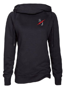 Ladies Black Funnel Neck Pullover with St. Joe Design on Left Chest