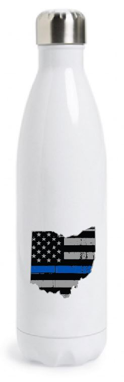State of Ohio American Flag Thin Line Tapered Water Bottle
