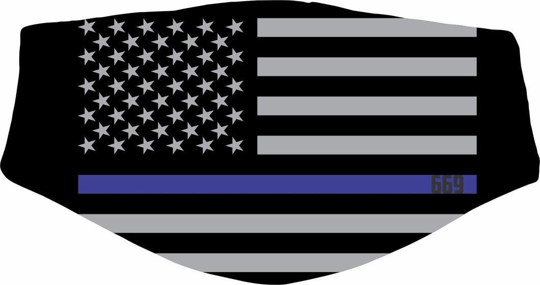 Thin Blue Line Face Covering
