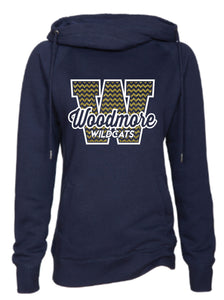 Ladies navy Funnel Neck Pullover with Woodmore Design