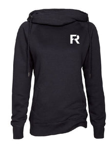 Ladies Black Classic Fleece Funnel Neck Pullover Hood with FR Design on Left Chest in White