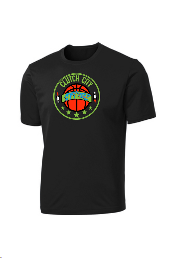 Clutch City Basketball- Black Moisture Wicking Performance Tee