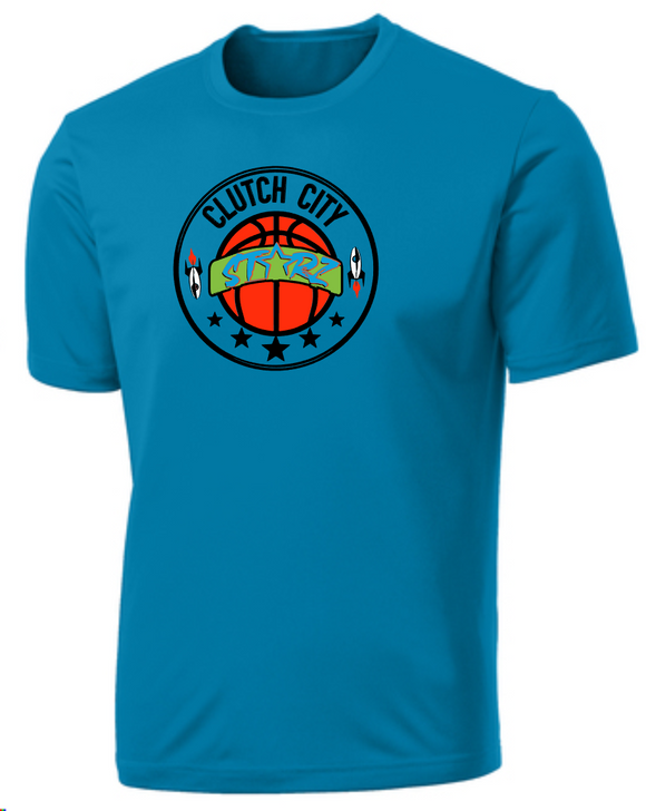 Clutch City Basketball- Blue Moisture Wicking Performance Tee