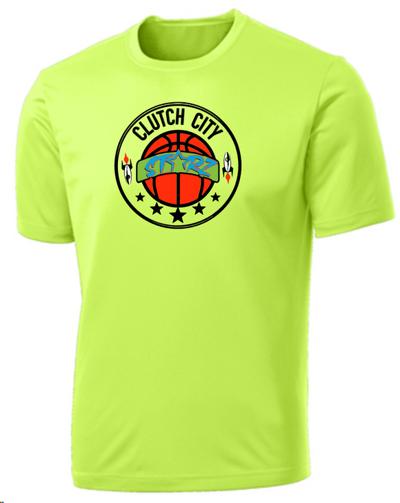 Clutch City Basketball- Neon Yellow Moisture Wicking Performance Tee