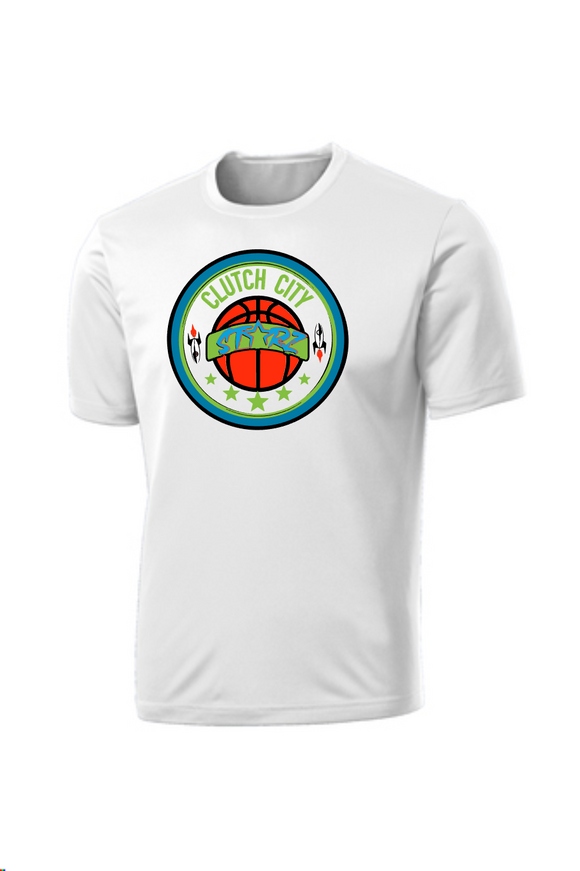 Clutch City Basketball- White Moisture Wicking Performance Tee